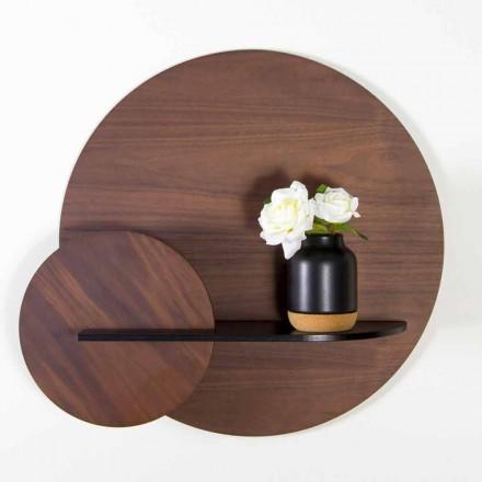 Modulární moderní police z ořechu a černě malované překližky - Amena