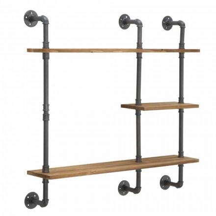 Průmyslové a moderní stylové nástěnné police ze železa a dřeva - Katrine