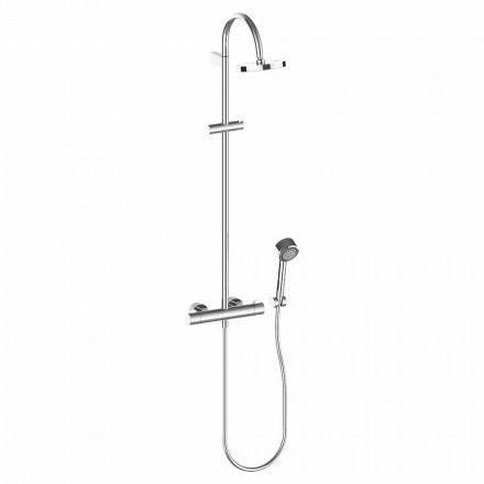 Sprchový sloup se sprchovou hlavicí a ruční sprchou z chromované mosazi, vysoká kvalita - Zanio