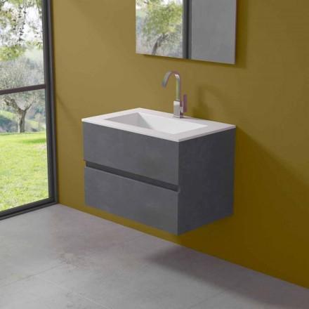 Závěsná skříňka do koupelny s integrovaným umyvadlem ve 3 rozměrech - Marione
