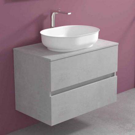 Závěsný koupelnový nábytek s oválným umyvadlem, moderní design - Cesiro