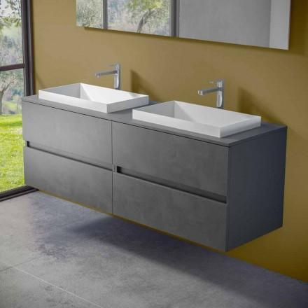 Závěsný koupelnový nábytek s dvojitým vestavěným umyvadlem, moderní design - Dumbo