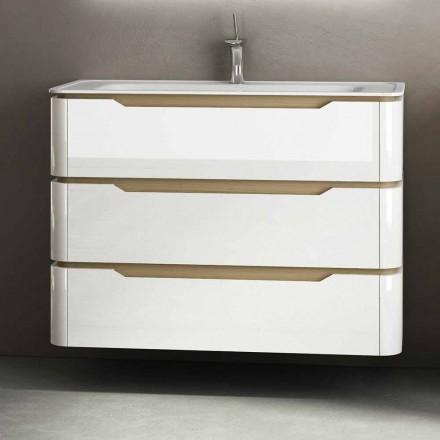 Koupelnová skříň se 3 zásuvkami moderního dřeva Arya vyrobeného v Itálii