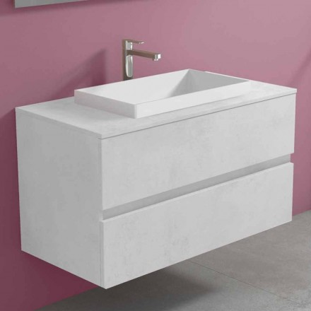 Závěsná koupelnová skříňka s vestavěným umyvadlem, moderní design - Casimira