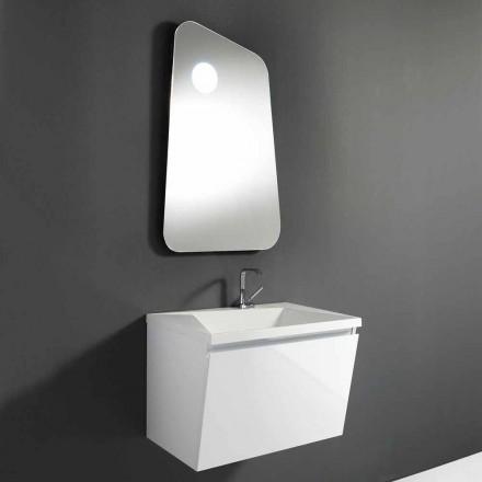 Koupelnová skříňka s umyvadlem a značkovým zrcadlem ze dřeva a minerálního mramoru - Fausta