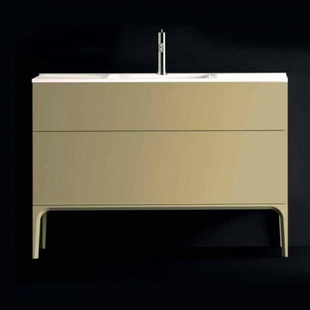 Koupelnová skříňka s umyvadlem v lakovaném dřevě 120x85x46cm Jantar, vyrobený v Itálii