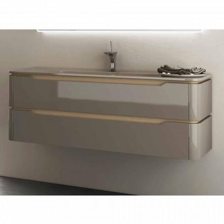 Koupelnová skříňka s integrovaným dřevěným dřezem Arya vyrobená v Itálii