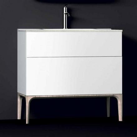 Koupelnová skříňka s integrovaným moderním dřezem Jantarová, pryskyřičná a lakovaná dřevo