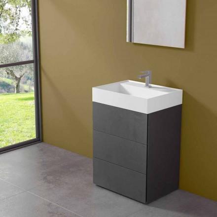 Moderní designová podlahová koupelnová skříňka z laminátu s pryskyřičným umyvadlem - Pompeje