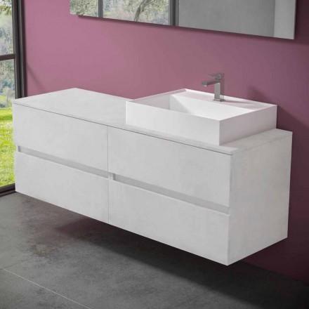 Závěsná koupelnová skříňka s designovým pryskyřičným umyvadlem na desku - Alchimeo