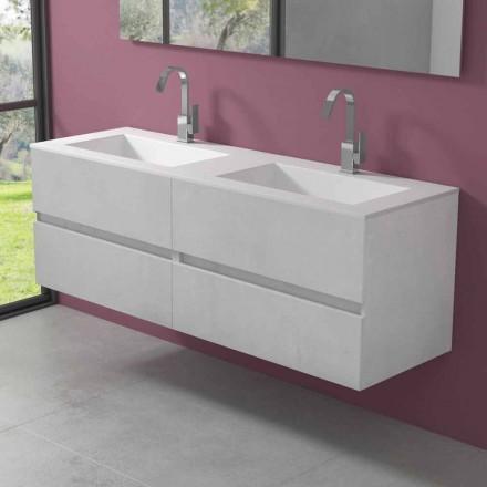 Závěsná koupelnová skříňka s dvojitým umyvadlem, moderní design ve 4 povrchových úpravách - dublet