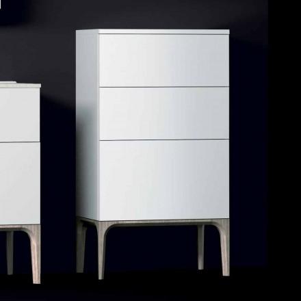 Moderní koupelnová skříňka se 3 zásuvkami z lakovaného dřeva Amber vyrobená v Itálii