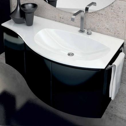 Moderní koupelnová skříňka s třídvereckým umyvadlem v laku z černého laku Gioia