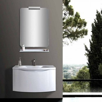 Moderní závěsná koupelnová skříňka s umyvadlovou policí a designovým zrcadlem - Michele