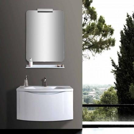 Bílé moderní závěsné koupelnové skříňky s umyvadlem, policí, LED zrcadlem - Michele
