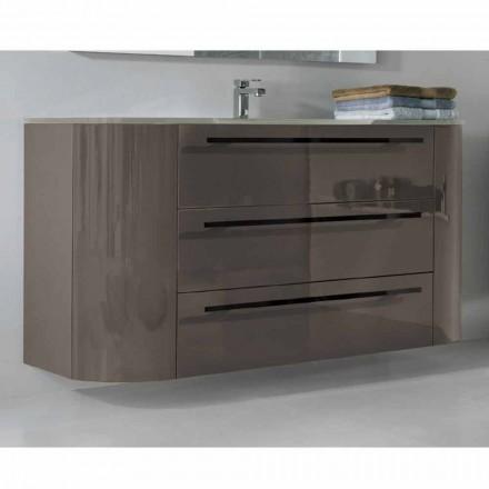 Závěsná koupelnová skříňka 3 zásuvky + 2 dřevěné dveře Šťastné, integrované umyvadlo