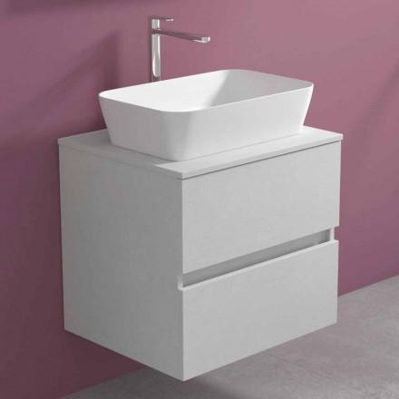 Závěsná koupelnová skříňka s obdélníkovým umyvadlem na desku, moderní design - Dumbo