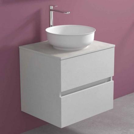 Závěsná koupelnová skříňka s kulatým umyvadlem na desku, moderní design - Dumbo
