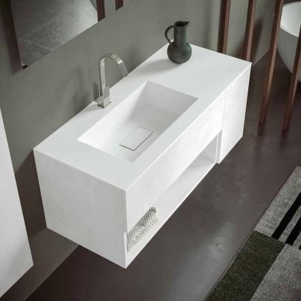 Závěsná koupelnová skříňka s integrovaným umyvadlem, moderní design, 4 povrchové úpravy - Pistillo