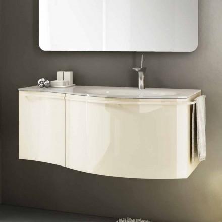 Moderní závěsná koupelnová skříňka s umyvadlem v béžovém lakovaném dřevě Gioia 1