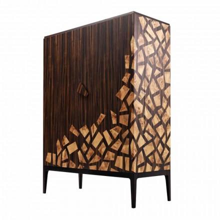 Grilli Zarafa 2-dveřní designová skříňka vyrobená v Itálii v ebenovém dřevě