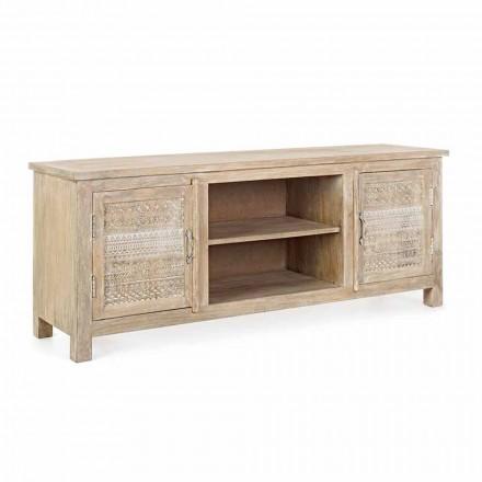 Nízká skříň z mangového dřeva s ručně vyráběnými dekoracemi Homemotion - Zotto