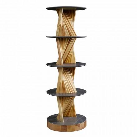 Designový dřevěný nábytek s kulatými policemi v Gresu vyrobený v Itálii - Aspide