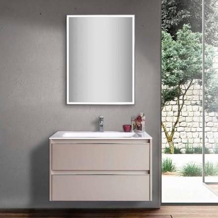 Koupelnové umyvadlo Dove Grey ve dřevě a minerále s LED zrcadlem - Alfonso
