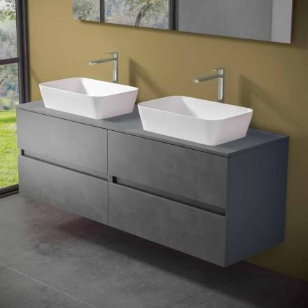Závěsná koupelnová skříňka s dvojitým umyvadlem na desku - Mandrillo