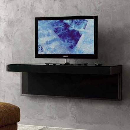 Nástěnná televizní skříňka z černého křišťálu a kovu vyrobená v Itálii - Americio