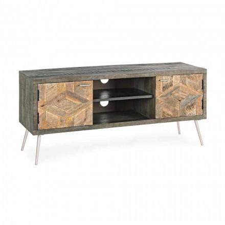 TV stojan ze dřeva s madly a nohami z oceli Homemotion - Adiva
