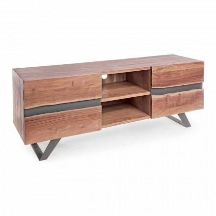 Televizní stojan Homemotion v mangovém dřevě s kovovými vložkami - Sonia