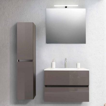 Koupelnová skříňka 80 cm, umyvadlo, sloup Mirron a Ecru - Becky