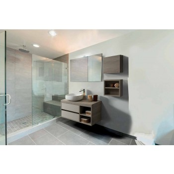 Koupelnový nábytek pozastaven v dubově šedém melaminu - Becky