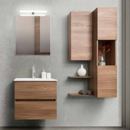 Koupelnová skříňka 60 cm, zrcadlo, umyvadlo a sloupec - Becky