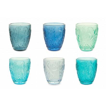 Moderní modré barevné brýle 6 kusů vody Service - Mazara