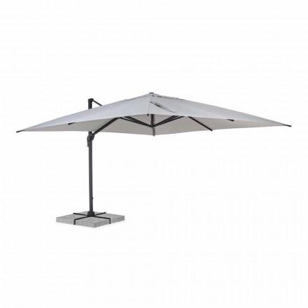 Venkovní deštník 4x4 ze světle šedého polyesteru a hliníku - Daniel