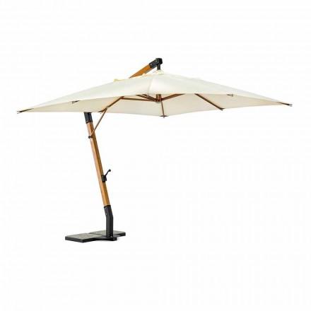 Venkovní deštník ze dřeva a polyesteru Ecru 3x4, Homemotion - Passmore