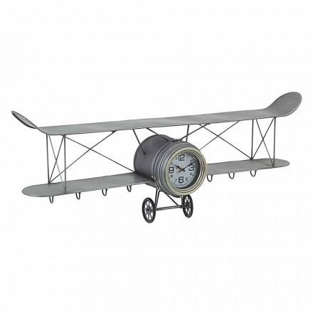 Nástěnné hodiny ve tvaru letadla z oceli a skla Homemotion - Plano