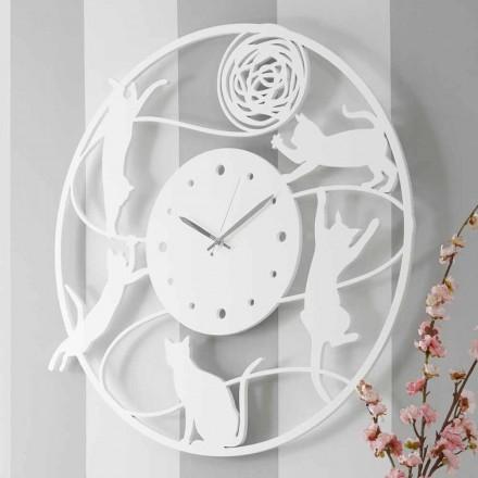 Velké moderní kulaté barevné zdobené nástěnné hodiny - Kat