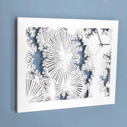 Design nástěnné hodiny z bílého dřeva nebo obdélníkové holubice - Artificio
