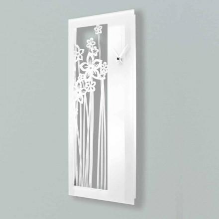 Moderní nástěnné hodiny obdélníkového designu v bílém plexi - Elara
