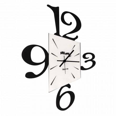 Design nástěnné hodiny z černého železa nebo hliníku Vyrobeno v Itálii - Prospi