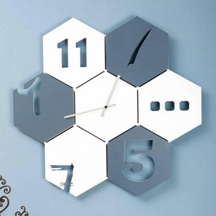 Velké nástěnné hodiny v barevném dřevě Šestihranný moderní design - Nidodape