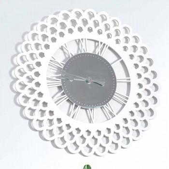 Bílé dřevěné nástěnné hodiny velké a moderní květinový design - Gerbera