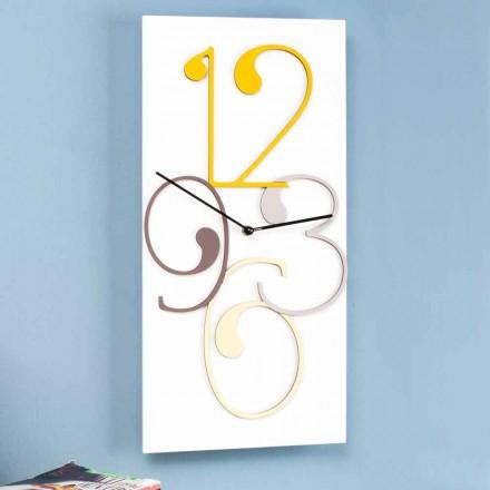 Nástěnné hodiny barevné a bílé dřevo obdélníkové moderní design - matematika