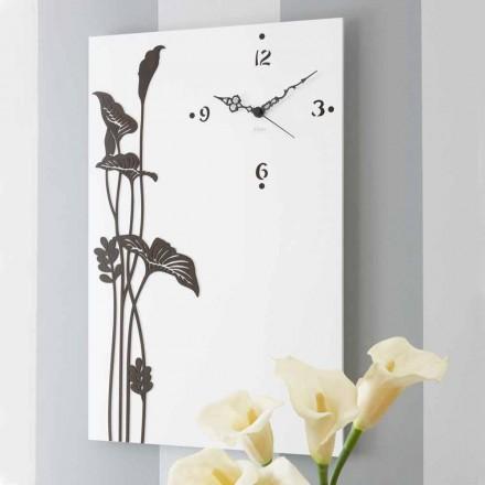 Moderní obdélníkové nástěnné hodiny v bílé zdobené designové dřevo - Croco