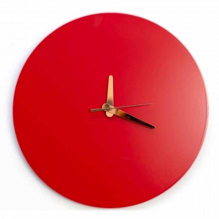 Červené nástěnné hodiny s italským kulatým a moderním designem ve dřevě - Callisto
