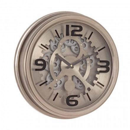 Nástěnné hodiny v klasickém stylu z oceli a MDF Homemotion - surové