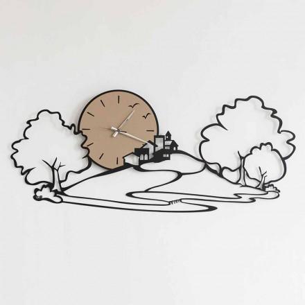 Nástěnné hodiny s krajinou v černé železo nebo bláto vyrobené v Itálii - Paesello